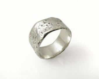 Raw wedding ring. Silver wedding band.Men wedding ring. Wide wedding ring. Silver ring (gr-9264-1225)
