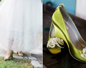 Wedge Green Shoes With Beautiful Appliques Peep Toes Wedding Olive Satin