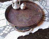 Small Round Copper Tray, Pfaltzgraff Village Pattern Punched Copper Trivet