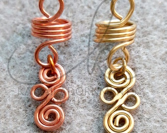 Dreadlock bead / braid bead Brass / Copper x 1 pc hair Jewelry 5.5mm, 8mm, 9mm hole
