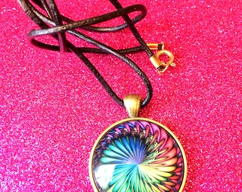Antique Gold Colour Glass Tile Multicoloured Rainbow Swirl Round Pendant Necklace- approx 28mm Square-Gifts For Her-Gifts for women