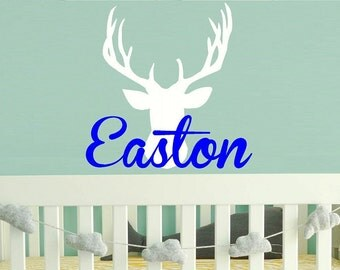 Boy baby Wall Decal Nursery - deer name Monogram Wall Decal - boys Name Wall Decal - Childrens Wall Decal - Vinyl Wall decal - WD157
