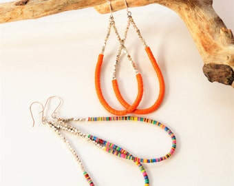 Hoop earrings, African earrings, Large earrings, Handmade earrings, Dangle earrings, Orange earrings, Recycled vinyl record earrings,