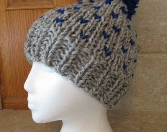 Slouch Hat, Knit hat, Crochet Hat, Tam Hat, Cloche Hat, gray, royal blue,  fair isle, ski hat, retro, bobble hat, heather
