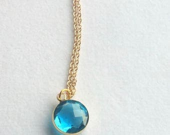 Turquoise Blue Gold Necklace. TurquoiseGlass Stone Necklace. Everyday Necklace. Wedding Jewelry. Simple. Modern.