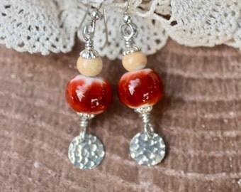 Lampwork Earrings, Lampwork Jewelry, Lampwork Bead Earrings, Burnt Orange and Ivory, Dangle Earrings, Sterling Silver