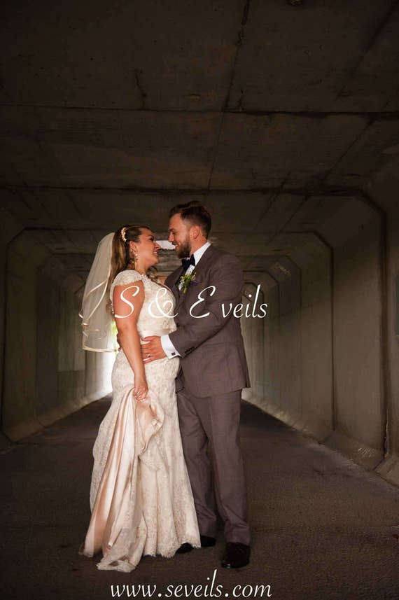 2-Tier WAIST Length Veil with SATIN RIBBON | bridal veil, veils with embellishments, white, ivory, light ivory, diamond white colors
