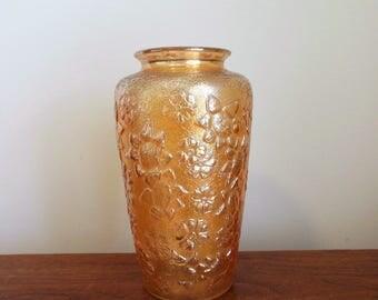 Golden Flowers Carnival Glass Vase or Pickle Jar by Jenkins Glass Marigold Iridescent Floral Vase