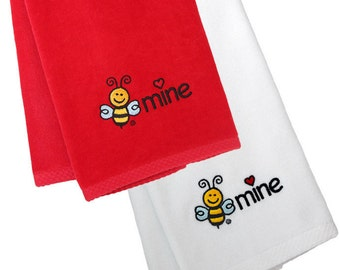 BEE MINE Embroidered Hand Towels | Quality Velour Terry Cotton | Red or White Towel | Cute Gift for Anyone | Valentine's Day | Sweetest Day