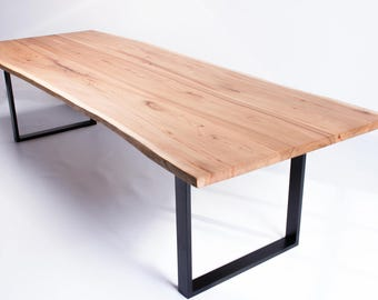 Vivente - Handmade Natural Live Edge English Oak or Elm Slab Dining or Conference Table on steel base