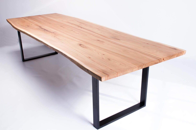 Vivente Handmade Natural Live Edge English Oak Or Elm Slab Dining - Handmade conference table