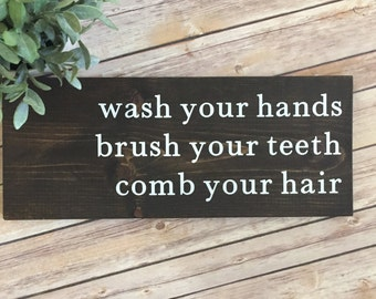 Kids Bathroom Sign | Wash Brush Floss Flush | Bathroom Sign | Rustic Sign | Rustic Home Decor | Farmhouse Decor