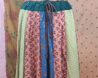 Sale- Long Patchwork Panel Skirt- size Large- XXL