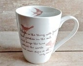 Hope Is The Thing With Feathers, Inspirational Quote Coffee Cup, Emily Dickinson Tea Mug, Birds Poem, Recovery, Don't give up, Ready to Ship