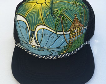 Hand Painted - Trucker hat - by Roupolimama