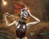 READY TO SHIP Autumn babe feather tribal Aztec headpiece headdress