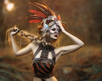 READY TO SHIP Autumn babe feather tribal Aztec headpiece headdress