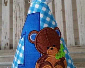 Teddy Bear Birthday Hat - Boys 1st Birthday Hat - Teddy Bear Birthday Party - Blue Party Hat - Teddy Bear Picnic - Photo Prop