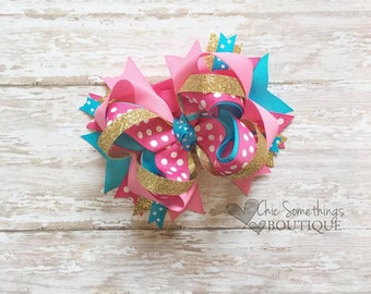 Bow, Pink turquoise gold bow, boutique bow, pink and gold bow, pink and turquoise bow, cake smash bow, birthday bow, gold pink bow UD