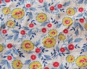 vintage feed sack fabric piece -- bright yellow and red floral print