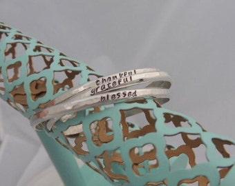 Mantra Bracelet - Engraved Bracelet - Personalized Bracelet - Inspirational Jewelry - Thankful, Grateful, Blessed