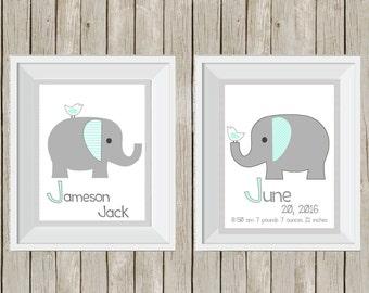 elephant print, elephant nursery, elephant decor, birth announcement, birth stats prints, personalized print, baby shower gift, 11x14 print