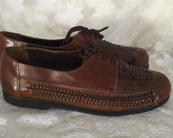 Vintage Mens Leather Woven Deer Stags Lace Up Shoes Size 12 M