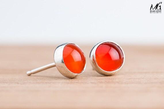 Orange Carnelian Gemstone Stud Earrings in Sterling Silver