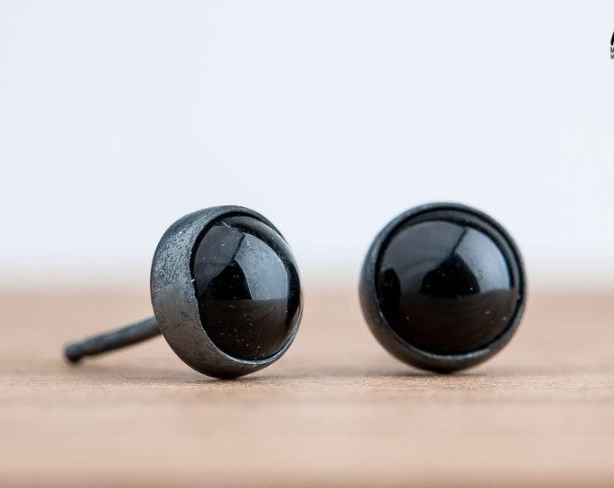 Black Onyx Post Stud Earrings in Oxidized Black Sterling Silver