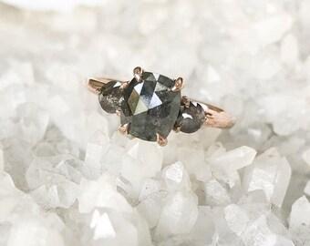 2.12 Carat Triple Diamond Zoe setting, Recycled 14k Rose gold