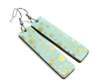 Aqua and Gold Earrings, Turquoise Long Earrings, Japanese Paper, Chiyogami, Yuzen, Washi Earrings, Laser Cut Wood, Lightweight, Resin Coated