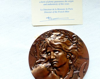Rare Signed C Lourday  French Music Medal    Médaille de musique signée Loudray, Médaille