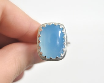 Blue Chalcedony Ring- Sterling Silver Ring- Statement Jewelry- Unique Cocktail Ring- Ocean Blue Gemstone Ring- Rectangular Sky Blue Gemstone