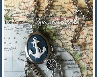 US Navy anchor cameo charm necklace by Son and Sea free US shipping