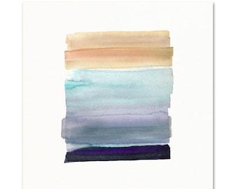 Watercolor Wall Art Print. Indigo.  Modern Minimal Decor.  Modern Wall Art.  Minimal Home Decor.  Peach and Blue. Contemporary Art.