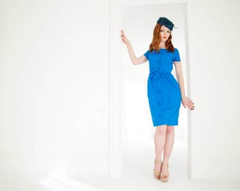 Vintage blue off-shoulder dress, cotton wiggle, 1950s 1960s, S