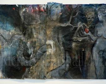 "Original contemporary artwork art brut Raw outsider Expressive Mixed Media Painting-""The Last Temptation"""
