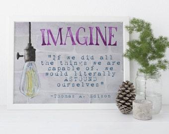 Digital Download: Watercolor, Edison Bulb Imagine, Watercolor Print Set, Digital Download Print
