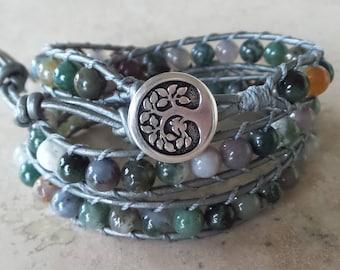 Fancy Jasper and Leather Wrap Bracelet