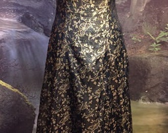 Vintage Black & Gold Floral Butterfly Evening Dress By Bari Jay Size 3-4