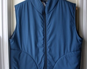 Vintage Helly Hansen Puffy Vest / Slate blue and grey zip up winter vest / Unisex size medium