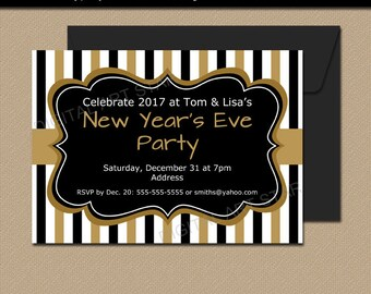 New Years Eve Invitation Printable, New Years Eve Party Invite, Black Gold Invitation Instant Download, 50th Birthday Invitation Template N1
