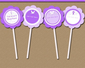 Girl Baptism Cupcake Toppers, Purple Baptism Cupcake Picks, Printable Girl Christening Party Decorations, EDITABLE Lavender Baptism Tags  I5