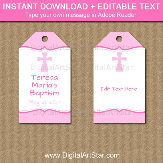 girl baptism tags pink baptism gift tags girl christening tags editable baptism tag. Black Bedroom Furniture Sets. Home Design Ideas