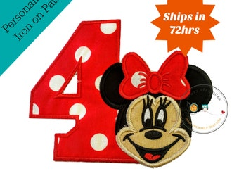Red with white polka dot birthday number 4 with minnie face, Iron on minnie 4th birthday applique, girl fourth birthday iron on patch,