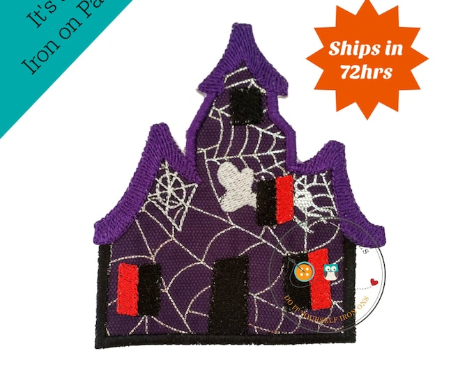 Large spooky house purple iron embroidered fabric applique patch embellishment- ready to ship