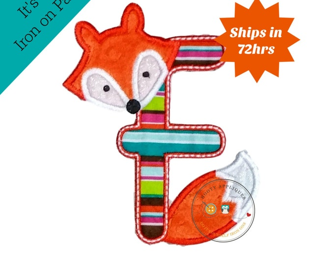 Woodland fox letter F machine embroidered iron on no sew patch, fox embroidered monogram letter f, ready to ship