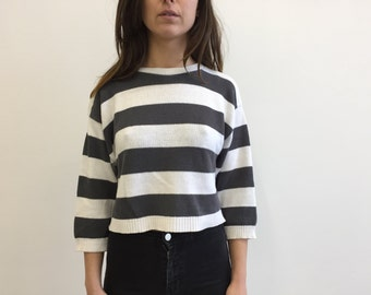 SALE- Tramare Vintage 1980s Striped Crop Sweater - Size S - small - M - medium - white and grey stripes