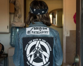 Fight the Rich, Not the Poor  - Punk Back Patch