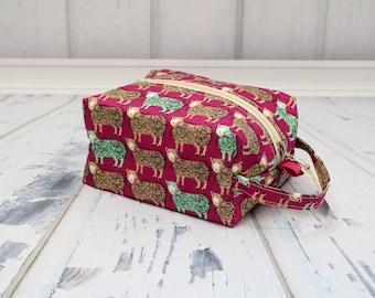 Sheep fabric fabric Knitting Project Bag, Large boxy bag, Knitting Box Project Bag.Crochet project bag, sock knitting bag
